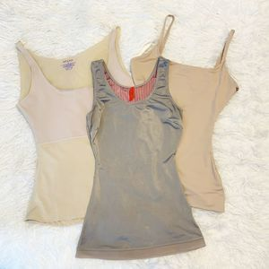 SPANX Lot of 3 Nude Gray Shaping Tanks Camis Small